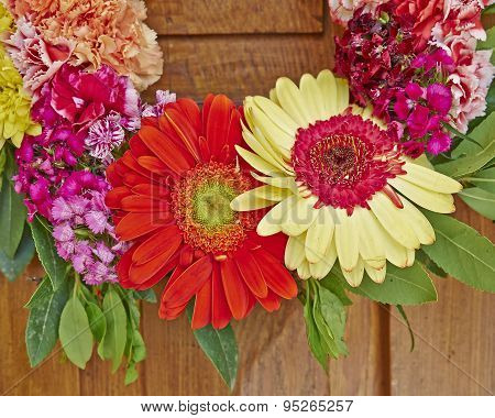 colorful flowers wreath partial view