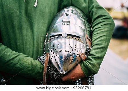 Knight Helmet Of Medieval Suit Of Armour On Table