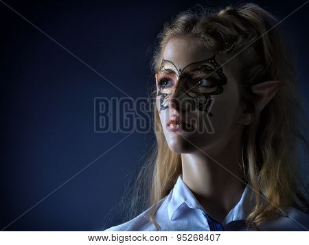 Portrait Of The Girl Mystical-elf In Modern Clothes