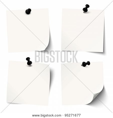 Collection Of Colored Sticky Papers With Black Pin Needle