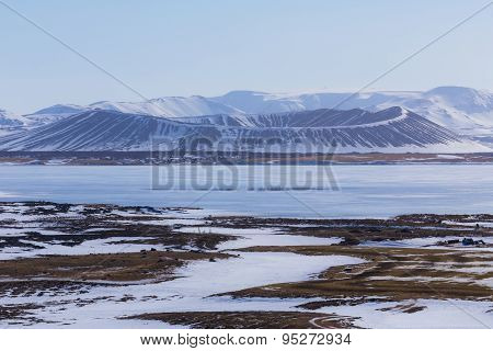 Winter Scene in Myvatn Volcano, Iceland