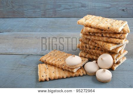 Cookies On A Background Of The Old Wooden Planks Painted..
