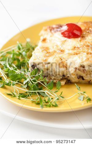 Casserole With Mushrooms Potato And Cheese