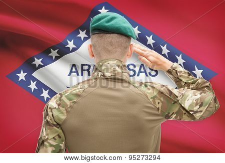 Soldier Saluting To Usa State Flag Conceptual Series - Arkansas