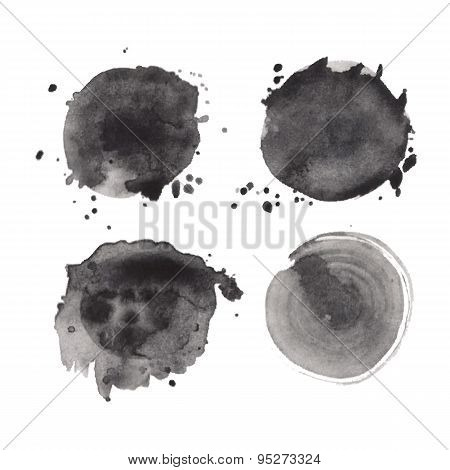 Set Of Watercolor Round Shapes
