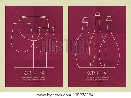 Set Of Abstract Line Illustration, Three Wine Glass And Bottles On Grunge Paper Background.