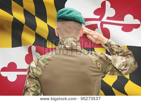 Soldier Saluting To Usa State Flag Conceptual Series - Maryland