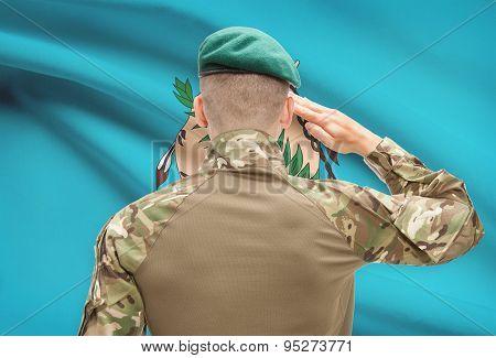 Soldier Saluting To Usa State Flag Conceptual Series - Oklahoma