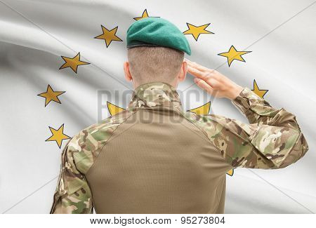 Soldier Saluting To Usa State Flag Conceptual Series - Rhode Island