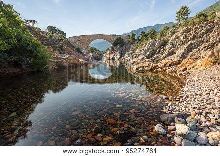 Ponte Vecchiu Bridge Over Fango River In Corsica