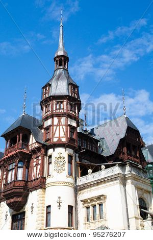 Tower View Of The Former Royal Peles Castle, Sinaia, Romania