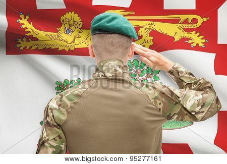 Soldier Saluting To Canadial Province Flag Conceptual Series - Prince Edward Island