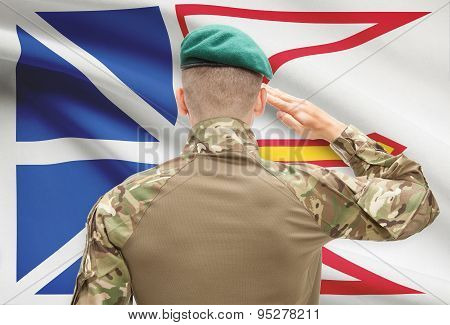 Soldier Saluting To Canadial Province Flag Conceptual Series - Newfoundland And Labrador