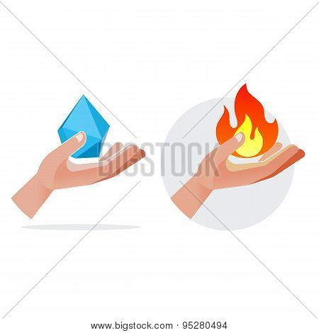 Fire And Crystal In Hands