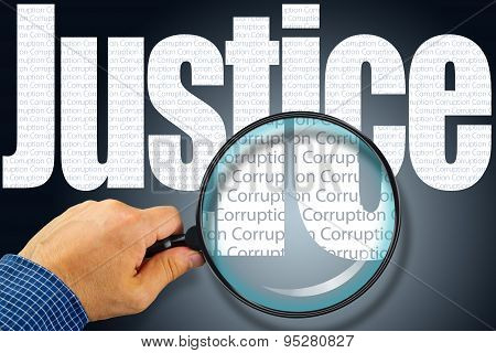 Justice - Corruption Opposite Message, Hand Holding Magnifying Glass