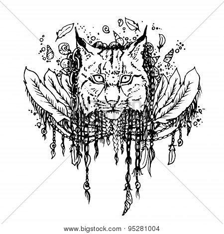 Graphic black vector lynx.