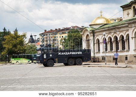 Gendarmerie Car Near St. Alexander Nevsky Cathedral In Center Of Sofia, Bulgaria