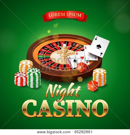 Casino background with roulette wheel, chips, game cards and dice