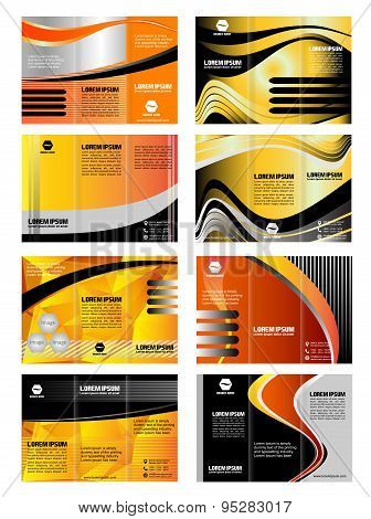 Vector collection of tri-fold brochure design templates dynamic waves background