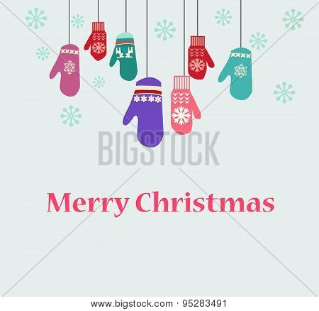 Holiday Card Design With Knitted Mittens