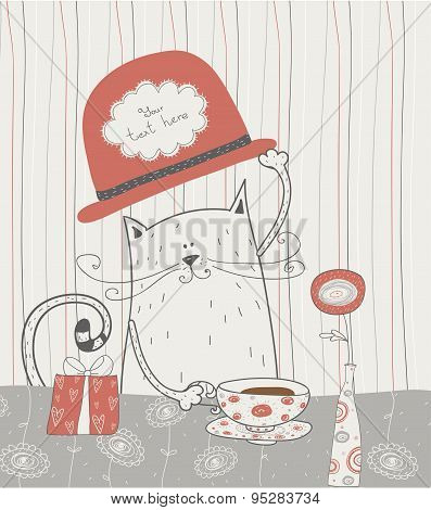 Cute vector background with cat in the hat.Romantic bakery frame with place for text.