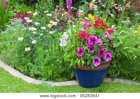 Mixed Flower Border With Potted Plants