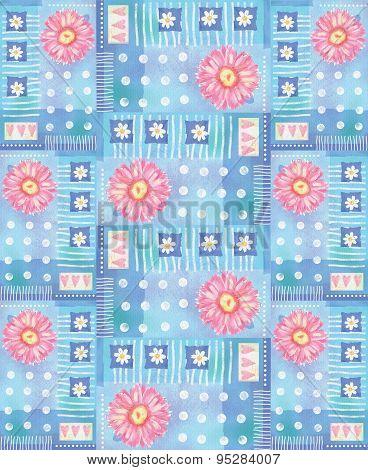 Pattern With Pink Gerbera, Hearts And Polka Dots.