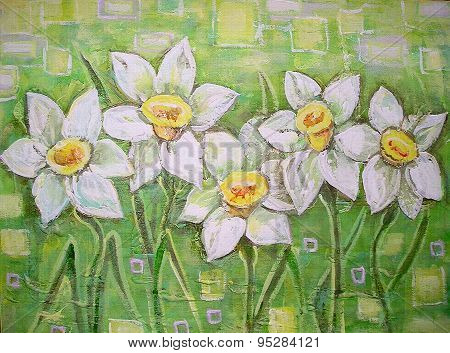 Acrylic Painting. Daffodils Flowers Or Narcissus