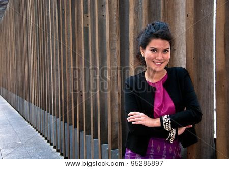 Business Woman With Thai Silk Dress And Formal Suit