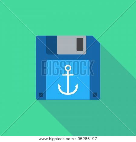 Long Shadow Floppy Icon With An Anchor