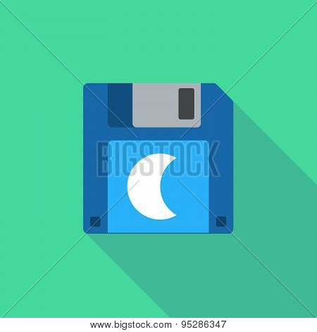 Long Shadow Floppy Icon With A Moon