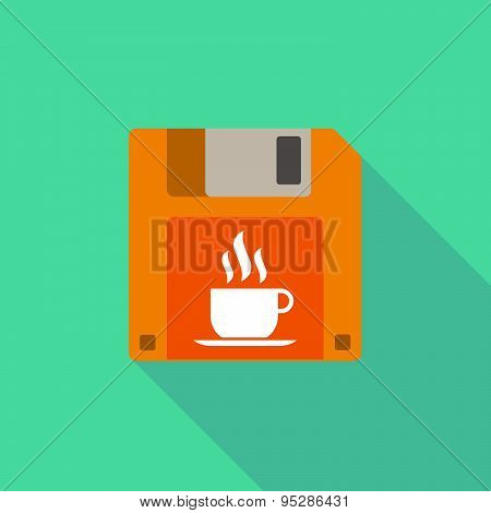 Long Shadow Floppy Icon With A Cup Of Coffee