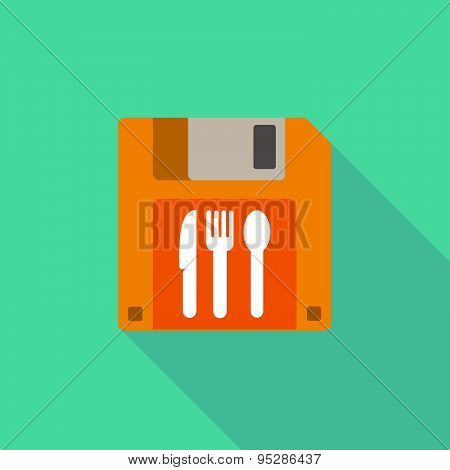Long Shadow Floppy Icon With Cutlery