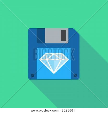 Long Shadow Floppy Icon With A Diamond