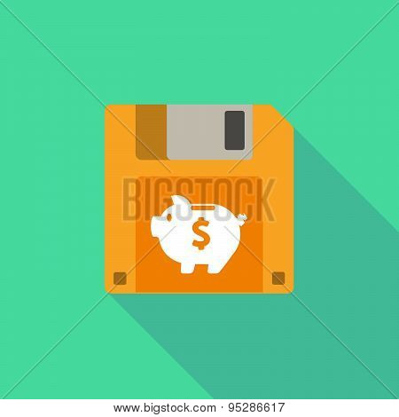 Long Shadow Floppy Icon With A Piggy Bank