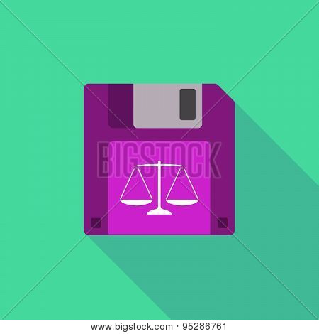 Long Shadow Floppy Icon With A Justice Weight Scale Sign