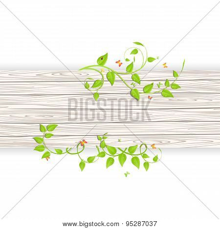 Wood fence with branches