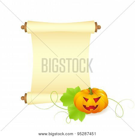 pumpkin with blank sheet of paper
