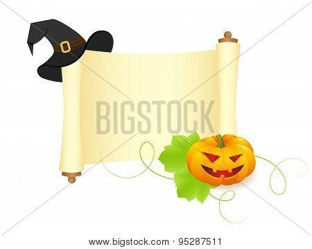 pumpkin and hat on a manuscript