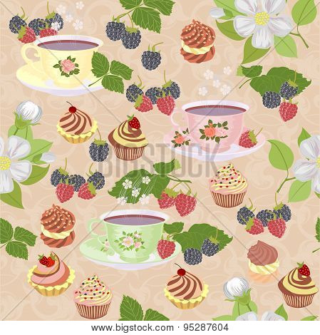 Appetizing a repeating pattern with cups, cakes and berries.