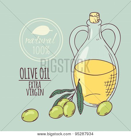 Olive oil carafe with olive branch. Hand drawn illustration