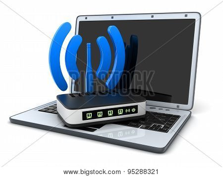 Laptop And Symbol Wi-fi