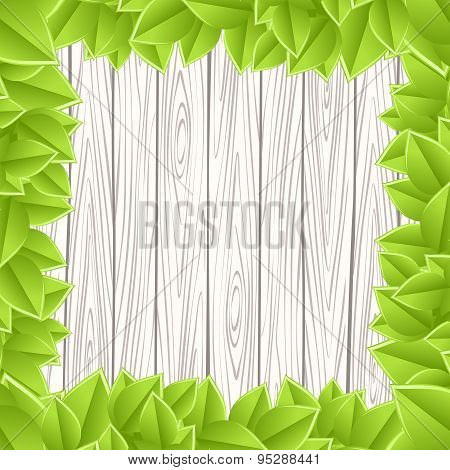 Wooden grey wall green leave