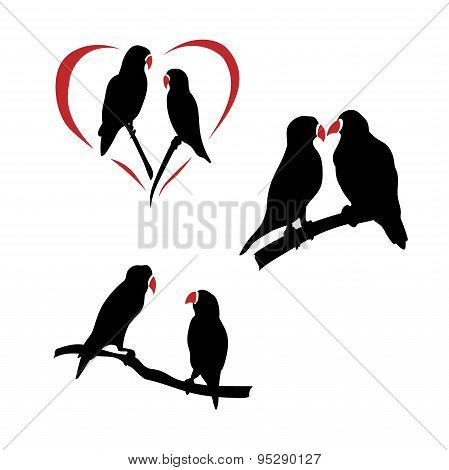 Vector silhouettes of a lovebird.