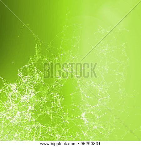 Bright Green Summer Abstract Background. Connecting Dots, Lens Flare