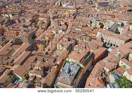 Aerial view to the historical center of the Bologna city, Italy.