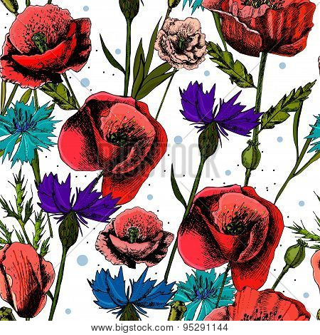 Seamless pattern with bright colorful flowers cornflowers and poppies, on a light background