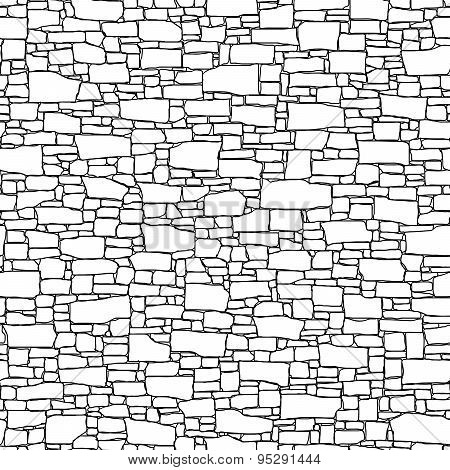 Seamless Wall From Stones Of Different Sizes (drawn With Ink).