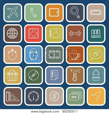 Application Line Flat Icons On Blue Background. Set 2
