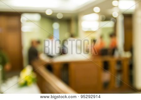 Blur Image Of  Hotel Reception With Bokeh On Day Time